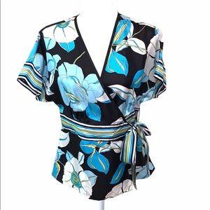 Silkland 100% Silk Kimono Wrap Shirt with tie
